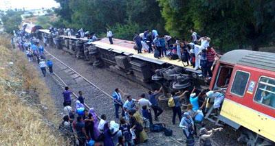 انحراف القطار بمحطة فاس بسبب عمل تخريبي وإصابة العديد من الركاب