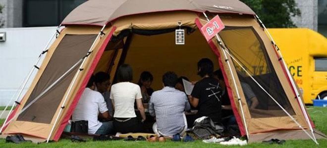 شركات يابانية تقيم مكاتب عمالها في الهواء الطلق